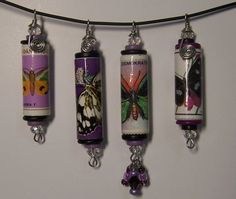 Paper Bead Canceled Postage Stamps Butterfly Pendants