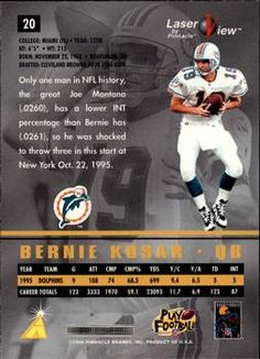 1996 Pinnacle Laser View #20 Bernie Kosar Back