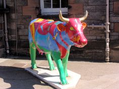 "Edingburgh, Scotland -  Cows on Parade 2006 - ""Over the Moo-n"" - 94 life size fiberglass cow statues"