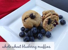 Recipe for light and fluffy Whole Wheat Blueberry Muffins made with honey!