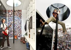 Fireman's pole, picture wall, cubbies, tile floor, Wisconsin Modern Riverfront project by dSPACE Studio, Ltd. AIA