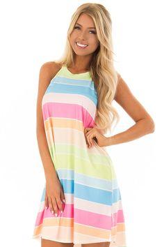Multi Color Neon Stripe Sleeveless Halter Neck Dress front close up Cute Boutiques, Fabulous Dresses, Halter Neck, Boutique Dresses, Style Me, Neon, Pretty, Lush, Color