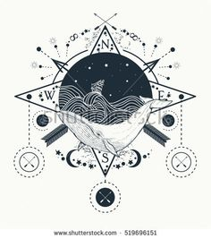 Whale under water tattoo art whale in the sea graphic style. Ship storm waves. Travel, adventure, outdoors, tattoo symbol. Whale tattoo for hipsters, travelers. Water waves in the sea marine tattoo