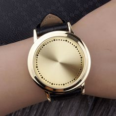 Creative Personality Golden Minimalist Touch Screen Waterproof LED Watch Men Women Couple Watch Smart Electronic Casual Watches - Online Shopping for Watches