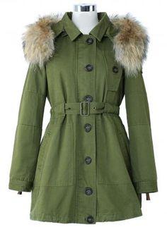 Detachable Fur Hood Military Parka Coat - Outers - Retro, Indie and Unique Fashion Unique Fashion, Fall Fashion, Fashion Beauty, Military Parka, Military Chic, Indie, Parka Coat, Fur Coat, Led Dress