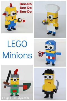 Lego Minion patterns: Make these guys with pieces you already own!  She also has suggestions for how to make accessories like the sword.