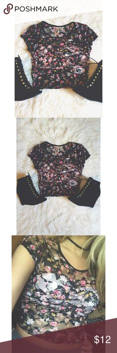 Floral lace crop top Size = XS, black , floral crop top, pink material over breast area, and the rest is lace, very cute .   ~ I DO NOT SWAP, SO PLEASE DON'T ASK. YOU WILL BE IGNORED.  ~ I NO LONGER HOLD MY ITEMS, FIRST COME FIRST SERVE.   ~YOUR PURCHASE WILL BE SHIPPED WITHIN 24-48 HOURS AFTER PURCHASED, FROM THAT POINT ON I CANNOT CONTROL HOW LONG IT WILL TAKE FOR THE SHIPPING SERVICE TO GET IT TO YOU. *PLEASE BE PATIENT*  ~I AM MORE THAN HAPPY TO MAKE YOU A BUNDLE. Tops Crop Tops