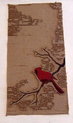 """The Cardinal"" - Acrylic on cardboard, 12""x19"""