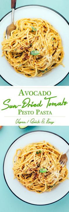 Avocado and Sun-Dried Tomato Pesto Pasta. Creamy and healthy pasta dish in under 15 minutes.
