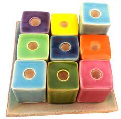 Ceramic Hanukkah Menorah with Block Design and Vibrant Colors