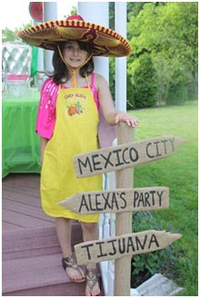 I like this signage idea...use labels for cities in Mexico as well as books that fit with the theme.