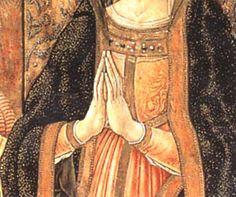 """Vittore Crivelli - Trittico di Cupra """"Madonna adorante il bambino, tra San Basso e San Sebastiano"""", dettaglio - Cupramarittima, Chiesa parrocchiale di San Basso"""