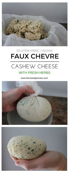 Faux Chevre Cashew Cheese with Fresh Herbs – Simple and delicious vegan cheese that is easy to make and sure to wow. Find this recipe and more at www.fernsandpeoni… Read Recipe by Fernsandpeonies Vegan Cheese Recipes, Vegan Foods, Vegan Snacks, Vegan Dishes, Dairy Free Recipes, Raw Food Recipes, Vegan Gluten Free, Vegan Cashew Cheese, Nut Cheese