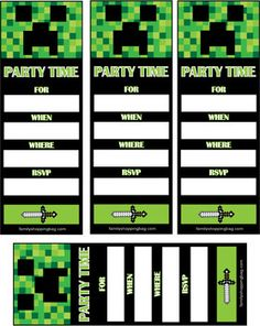 Invite, Minecraft, Invitations - Free Printable Ideas from Family Shoppingbag.com