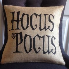 Halloween pillow cover Hocus Pocus witch burlap (hessian) pillow cover