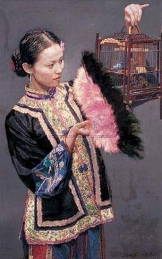 Chen Yifei - Girl with birdcage