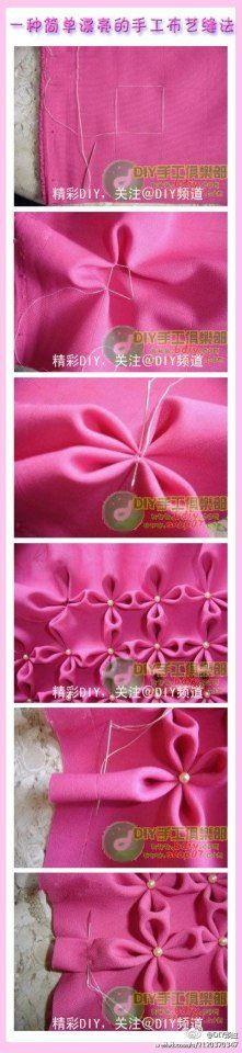 Frunce d tela forma d flor