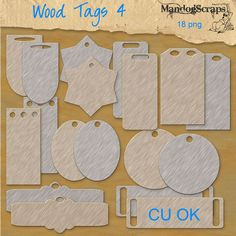 Wood Tags 4- There are 2 sets of 9 wooden tags for your design needs Commercial Use OK no credit required