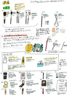 初めてメイクする大学生の女の子のために描いた「基本的なメイクの仕方+メガネのメイク」のイラストがわかりやすい - Togetterまとめ