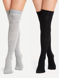 Shop Plain Over the Knee Socks online. SHEIN offers Plain Over the Knee Socks & more to fit your fashionable needs. Estilo Lolita, Sock Shop, Shopping Near Me, Fishnet Tights, Nylons, Knee High Socks, Bra Lingerie, Cute Outfits, Shops