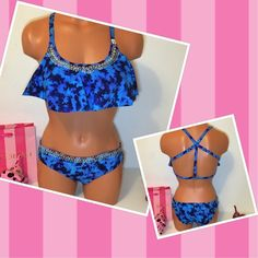 SOLDNEW PINK VS FLOUNCE EMBROIDERED SWIMSUIT PINK Victoria's Secret SWIMSUIT FLOUNCE REMOVABLE PADDING PUSH UP,  STRAPPY BACK TOP AND EMBROIDERED DETAILS ON BOTH PIECES WITH MATCHING BOTTOM!!!  BEAUTIFUL SET!!!!  COLOR MULTICOLOR  SIZE  S  FAST SHIPPING!!! ✅✅✅  Check out my other items! I am sure you will find something that you will love it! Thank you for watch!!!!! Be sure to add me to your favorites list! PINK Victoria's Secret Swim Bikinis