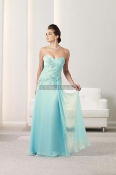 Blue Natural Waist Floor Length Chiffon A-line Mother Of The Bride Dress