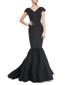 Cap-Sleeve Silk Faille Trumpet Gown by Christian Siriano at Neiman Marcus.