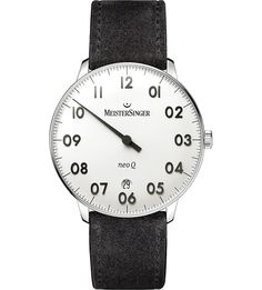 eab8bb7e6596 MEISTERSINGER - NQ901GN Neo Q stainless steel and leather watch