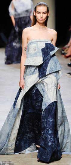 Patchwork denim long jean dress. Leonard Spring 2015 RTW