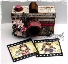 """: My DT Project for Paradise of Magnolia"""" Happy Birt. Paper Craft Making, 3d Paper Crafts, Diy Crafts For Gifts, Paper Art, Mini Albums, Mini Scrapbook Albums, Diy Birthday, Birthday Cards, Camera Crafts"""