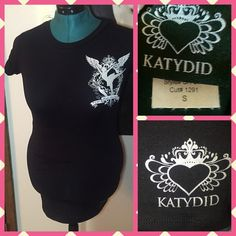 NWOT Katydid S/M Black Glitz Tee NWOT Katydid S/M Black Glitz Tee  Says small, but fits very large and it long. Fits more like a small unisex sizing.  The back has gems on the dancer  Perfect condition, no wear or flaws  Smoke & Pet Free Home Ships within 24 hours Bundles & offers welcome! Katydid Tops Tees - Short Sleeve