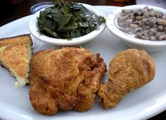 Fried chicken, collard greens & black eyed peas from the Whistlestop Cafe, Juliette, Georgia.
