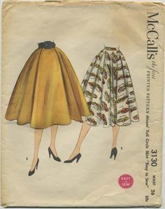 Vintage Circle Skirt Sewing Pattern | McCall's 3130 | Year 1955 | Bust n/a | Waist 26 | Hip 35