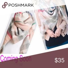 Coming soon Pink Blanket Scarf / Wrap Please like to receive the price drop notification. A beautiful light pink blanket scarf.  There are some colorful stripes with gray, blue, green, dark pink, and white. Accessories Scarves & Wraps