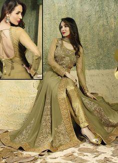 Malaika Arora Sea Green Georgette Designer Long Anarkali Salwar Suit
