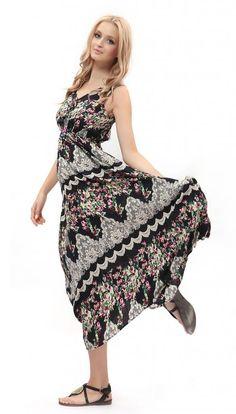 Women's Strap Sleeveless Floral Printed Summer Beach Bohemian Sundress:Summer Fashion: Spring Outfits:Casual Outfits:Cute Outfits: Summer Outfits: Spring Outfits:Spring Outfits:Summer Dress