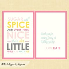 """Sugar and Spice and everything nice...that's what little girls are made of!""  Favor tags for your little girl's birthday party or for a baby shower!"