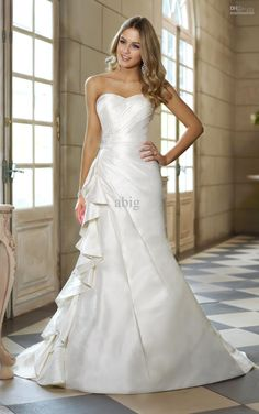 modified a-line wedding gown | ... line Bride Gown Chapel Train Sleeveless Beading Wedding Dress 1451