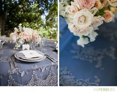 #blue and #grey linens accented with light pink florals. photography by Anna Kuperberg Photography