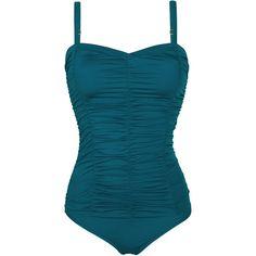 Saha One-piece Bustier Swimsuit Petrol Blue - Aurora Maio Blue ($150) ❤ liked on Polyvore featuring swimwear, one-piece swimsuits, blue, one piece swim suit, spandex swimwear, swim suits, one piece swimsuits and 1 piece swim suit
