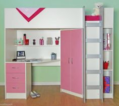 CABIN BED DESK STORAGE HIGH SLEEPER WITH PINK  R227WP