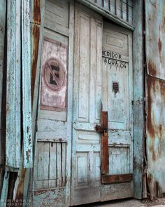 Old Turquoise Door, Fine Art Print, 8x10, Urban Photography, Rustic Home Decor. $25.00, via Etsy.