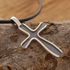 Oxidized Silver Cross Necklace Modern Cross by SilverJewelleryPlus on Etsy - Perfect gift idea for men - Holiday Gift Guide 2014