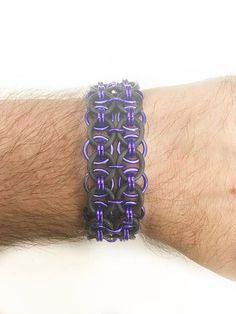 """1"""" Wide Stretch Chainmail Metal Bracelet - Black Dark Blue Bracelet - Goth Emo Clothing Accessory - Chainmaille Jewellry - Strechy Wristband by JohnsChainmailShop from John's Chainmail Shop. Find it now at http://ift.tt/2oBMjvM!"""