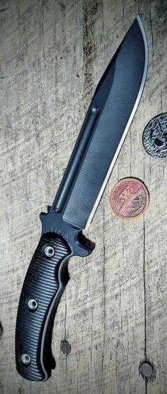 RMJ Tactical Combat Africa Tungsten Cerakote 80CrV2 Black G10 Fixed Blade