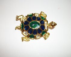Vintage Turtle Pin fabulous colors by PURSENICKEDY on Etsy