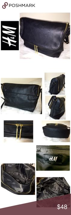 """H&M Signature Leather Crossbag H&M Signature Leather Crossbag, Elegant Black Pebble Embossed Leather with Gold Hardware, Zip Outside Closure with 1 Interior Zip Pocket, Approx. size is 12 1/2"""" x 9"""" x 3 1/2"""" with a 8 1/2"""" - 19 Adjustable Crossbody Strap for a Custom Fit,  Never Used!  NWOT H&M Bags Crossbody Bags"""