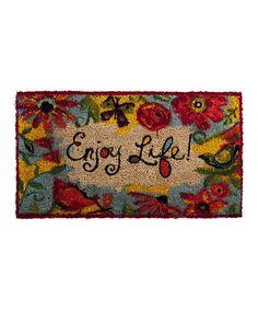 Look at this #zulilyfind! Red Floral 'Enjoy Life' Doormat #zulilyfinds