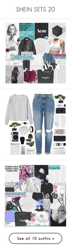 """""""SHEIN SETS 20"""" by feels-like-snow-in-september ❤ liked on Polyvore featuring Acne Studios, Chanel, Toga, Monki, modern, melsunicorns, gottatagrandomn3ss, River Island, NIKE and Windle & Moodie"""