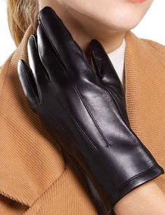 Genuine Leather Gloves for Women Warm driving in Winter Classic Perfect Appearance Touchscreen Texting at Amazon Women's Clothing store Cara Dune, Cold Weather Gloves, Leather Gloves, Fashion Brands, Topshop, Warm, Texting, Winter, Classic